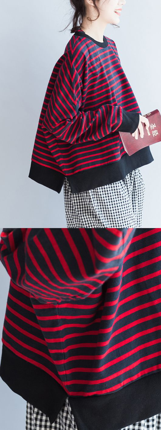 new-red-black-striped-cotton-t-shirt-oversize-batwing-sleeve-side-open-pullover5