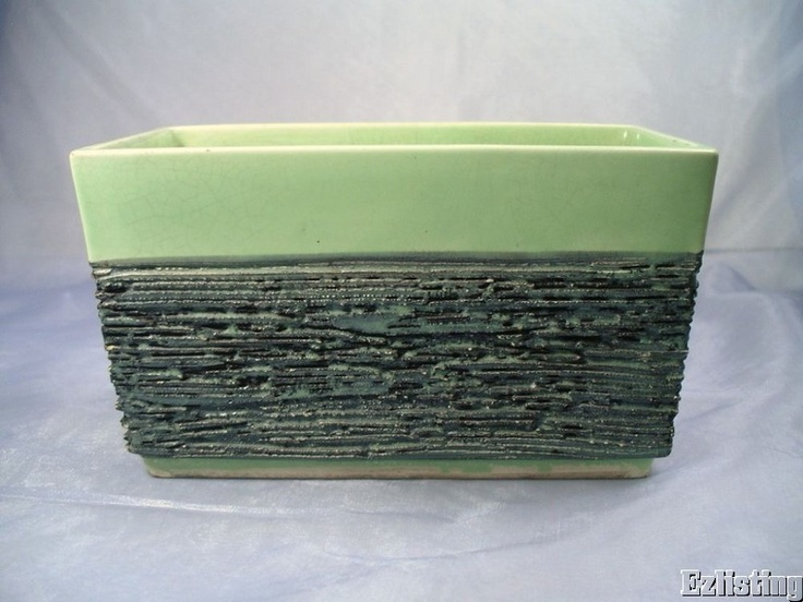 Vintage Bishop California Ceramics Lime Green Planter Box