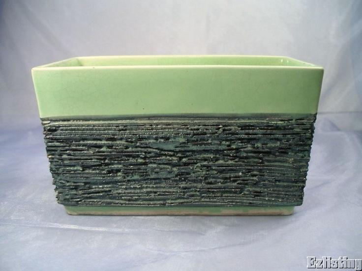 Vintage Bishop California Ceramics Lime Green Planter Box