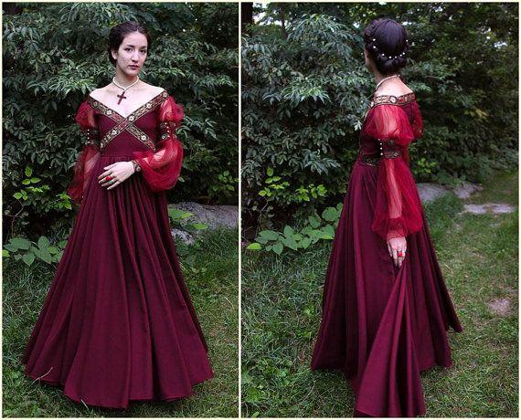Vestido renacentista traje histórico 1500 por MariaHellerDesigns