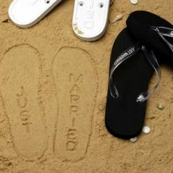 flipflops for wedding.. there won't be sand, but with the weather in PA, there may be snow.. so maybe the imprints will show in the snow ;P
