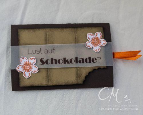 Ein Auftrag zum Anbeisen   Caros Bastelbude, Gutschein, Lust auf Schokolade, Ziehkarte, Tutorial, Stempelset Petite Petals von Stampin' Up!