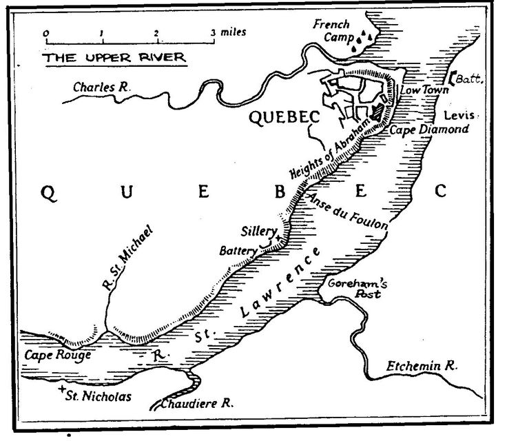 Chapter 7 -  The Raid:-  A map to show the upper river above Quebec.