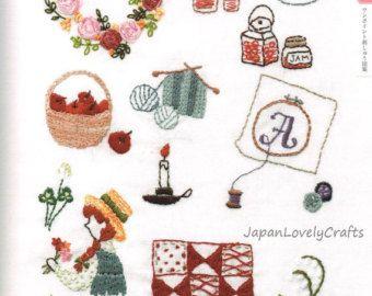 Patrones de bordado de kawaii & diseños - japonés mano bordado fácil libro - cruzan puntada, alfabeto, motivos de cuentos hadas lindo - B1520
