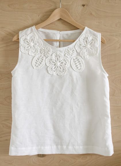 Idea per abbellire una camicetta - Blouse with Irish Crochet Embellishment