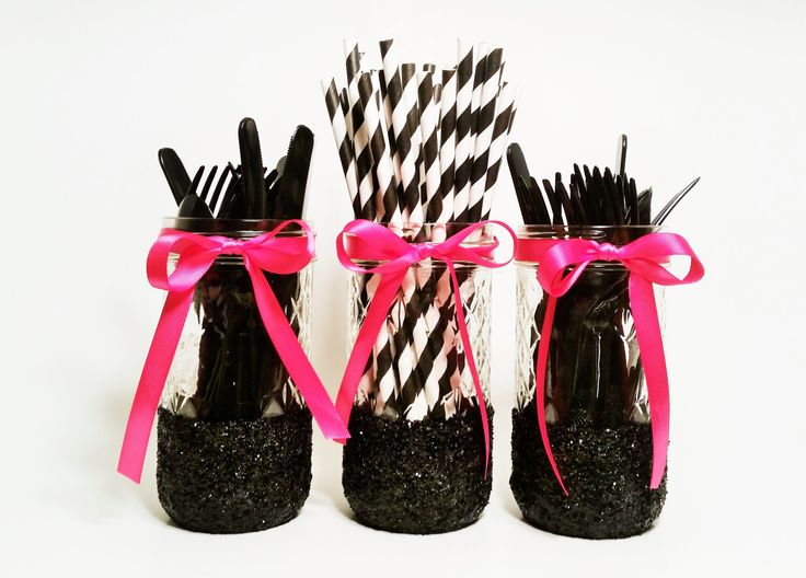 Mason Jar Centerpieces, Pink and Black Wedding, Bachelorette Party Decor, Birthday Party Decor, Girl's Birthday, Graduation Party, Set of 3 by LimeAndCo on Etsy https://www.etsy.com/listing/240344654/mason-jar-centerpieces-pink-and-black