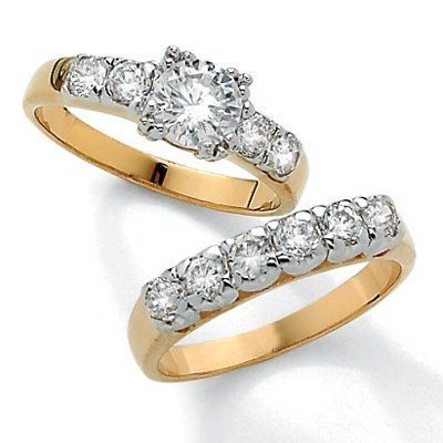 PalmBeach Jewelry 2.15 TCW Round Cubic Zirconia 14k Gold Plated Wedding Ring  Set Palm Beach