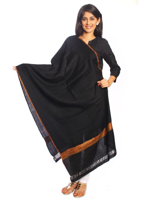 Black Pure Woolen Shawl- A must-have for all the black-lovers. Designed in pure wool, the shawl is a great-add on to your winter-wear suits or sarees.