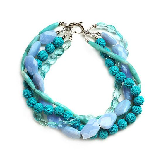 Multiple-Strand Beaded Necklace Color Option ~ This beautiful blue option uses four strands instead of five. This monochromatic necklace uses amazonite, chalcedony, turquoise, and simulated aquamarine ~ I love these colors