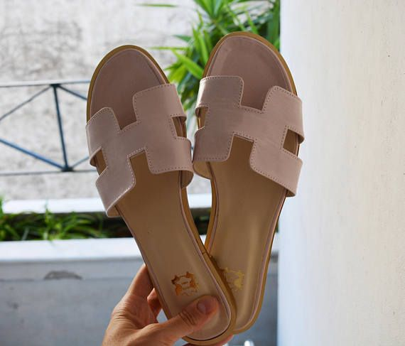 Hermes Leather Sandals Nude Color H Slides Greek Leather