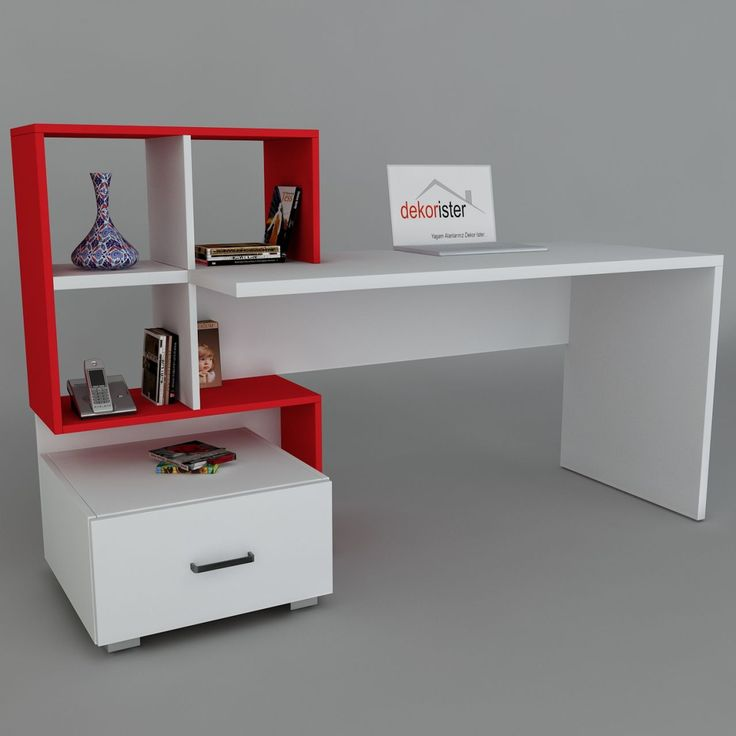 Dekorister - Online Mobilya Alışverişi ~ Bloom Çalışma Masası Beyaz-Kırmızı