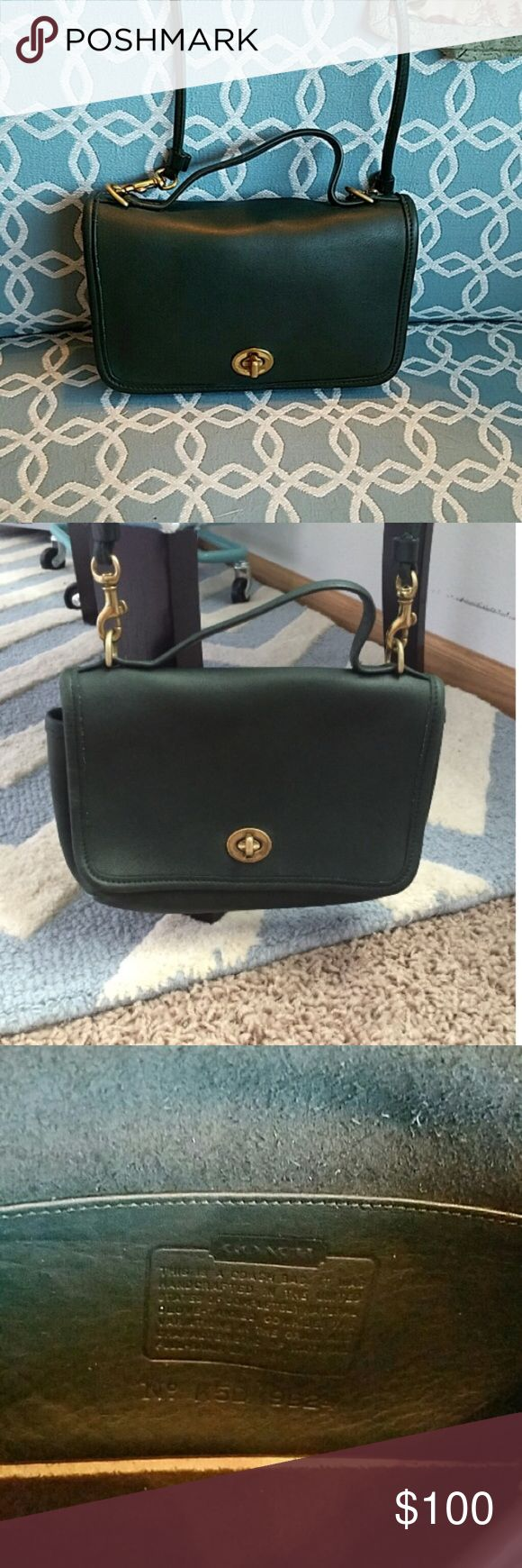 "Coach Green Vintage Classic Casino Crossbody ✨Excellent vintage condition ✨ hardware ✨ removable 27"" strap drop ✨ drop handle ✨ cleaned, polished, and moisturized ✨ serial # K5D 9924 ✨ inside slip pocket ✨ outside slip pocket ✨ Coach Bags Crossbody Bags"