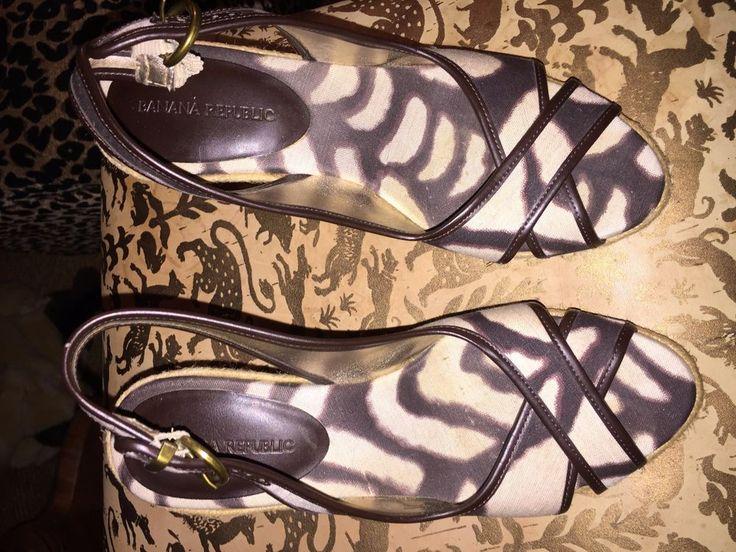 banana republic brown white African Bark Cloth print wedge platform ASNEW 7 1/2 #BananaRepublic #PlatformsWedges #Casual