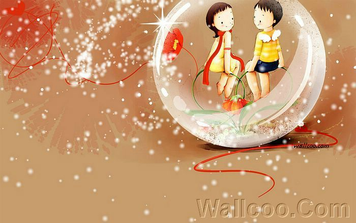 Kim Jong Bok Illustrations(Vol.04) : Sweet Puppy Love   - Childhood Sweetheart - Sweet Couples Cartoon Wallpaper  26