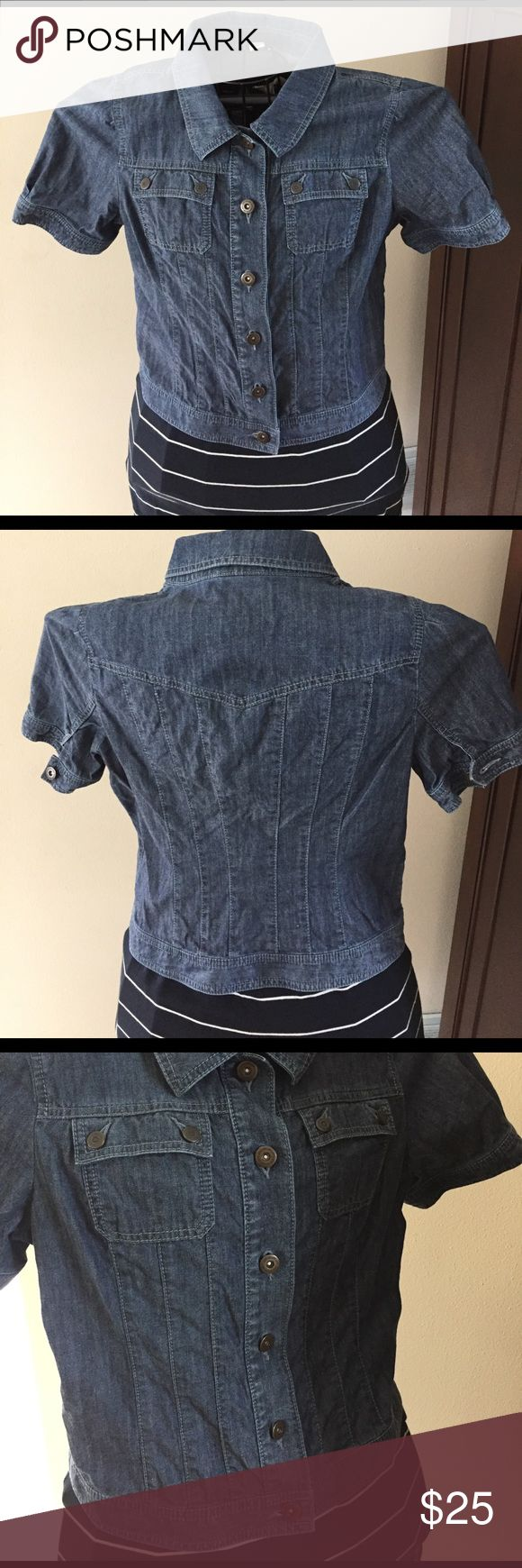 Ann Taylor Loft short sleeve denim shirt medium Super cute cropped Denim short sleeve shirt worn a few times. Classic must have piece. In great condition, you might mistake for brand new.  Can be worn with jeans, pants, skirts or casual dresses.  Shoulder to hem 19 inches. Ann Taylor Tops