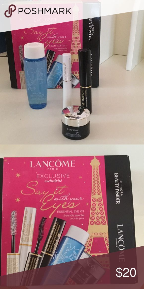 NIB LANCÔME EYE ESSENTIAL KIT NIB LANCÔME Say It With Your Eyes Essential Eye Kit. Sample size kit gives you the opportunity to try some great product without making  big investment. Included: Hypnose Drama 0.135 fl oz Full Body Volume Mascara, CILS Booster XL Super Enhancing Mascara Base 0.07 fl oz, Youth Activating Eye Cream 0.20 oz and Double Action Eye Makup Remover 1.7 oz.  From my CLEAN NON SMOKING home. Check out my other listings as I am cleaning out closets and have a lot of cute…