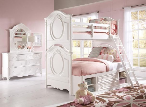 Fiona Twin Over Full Bunk Bed White Victorian
