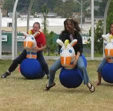 Inflatable horse race!  Great for a party!