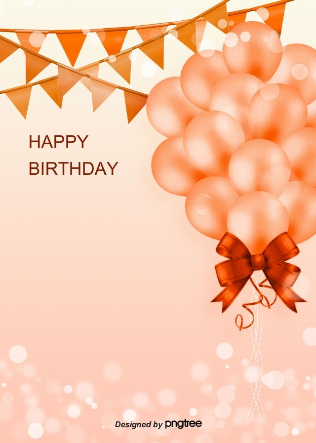 Orange Realistic Style Romantic Happy Birthday Background