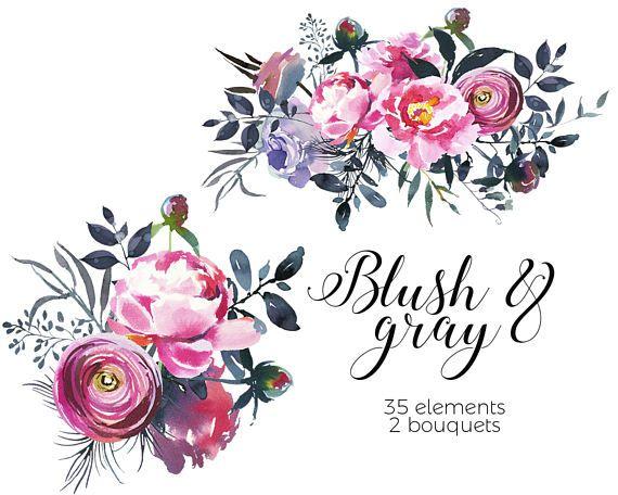 Aquarelle Fleurs Rose Gris Florals Numerique Png Clipart Bouquets