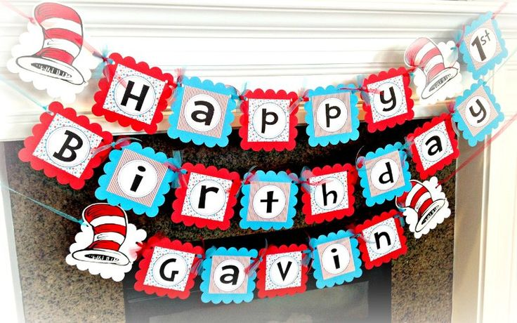 Amazon.com: Dr. Seuss with Cat in the Hat DIY accents Happy Birthday Banner - Red Stripes, Turquoise and Red Polka Dots & White and Black Accents - Party Packs Available: Handmade