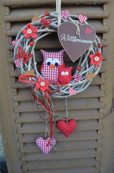 Türkranz+Eulen+Frühling+Ostern+Türschild+rot+braun+von+mein+rosa+rot++auf+DaWanda.com