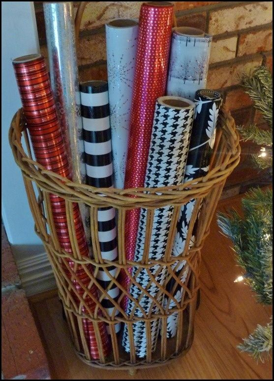 use your christmas wrapping paper as part of your chritsmas display by placing it in a