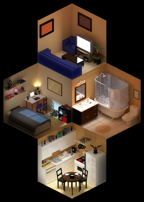 Living in isometric space by Albert Zablit, via Behance