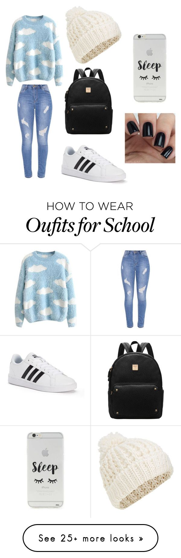 """school"" by tumblerrr on Polyvore featuring adidas, Forever 21 and Accessorize"
