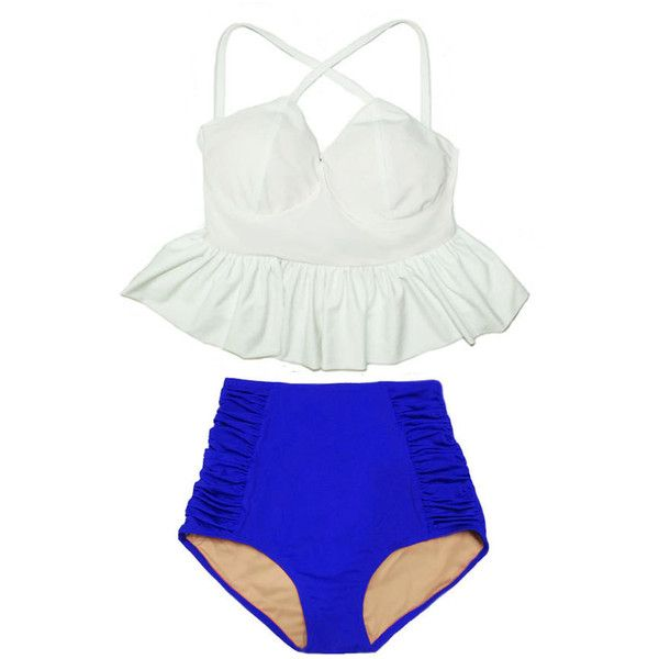 White Long Peplum Tankini Top and Blue High Waisted Waist Swim Suit... ($40) ❤ liked on Polyvore featuring swimwear, bikinis, silver, women's clothing, high waisted swim suit, white bathing suit, white bikini top, white high waisted swimsuit and long-sleeve swimsuits