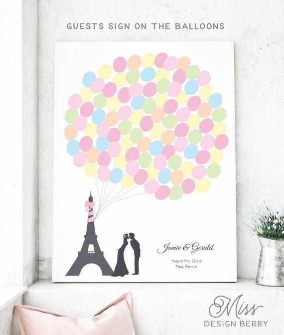 Paris-Hochzeit Gästebuch mit Eiffelturm von MissDesignBerryInc