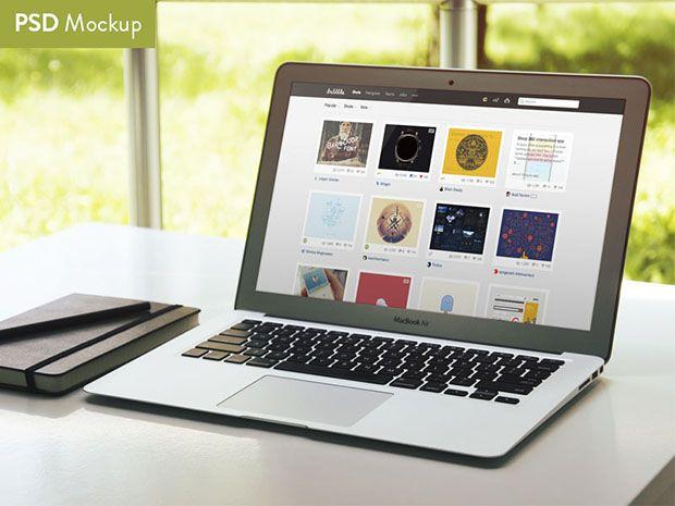 Summertime MacBook Air Mockup http://dlpsd.com/summertime-macbook-air-mockup/