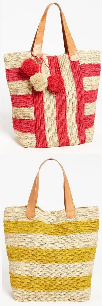 Mar y Sol 'Havana' Stripe Tote, Extra Large SHOP  http://rstyle.me/n/bqu3k5rm5w  Mixed-up stripes cast in natural crocheted raffia bring beach-ready flair to a roomy tote topped with leather straps and a fun trio of pompoms.