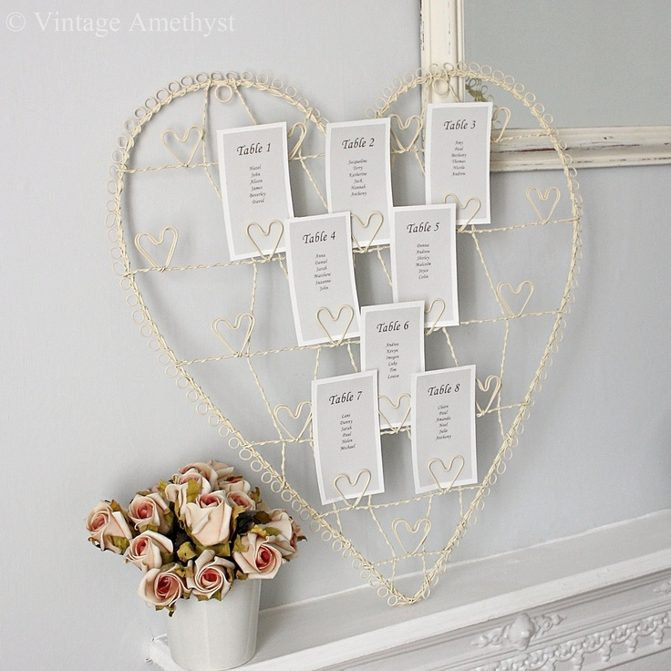 Pretty Cream Wire Heart Card Holder perfect for Wedding table plans from www.vintageamethyst.com