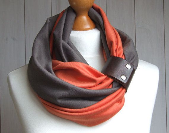 Mulitcolored Infinity SCARF Circle Scarf with leather cuff, dar taupe and pumpkin orange, multicolored scarves