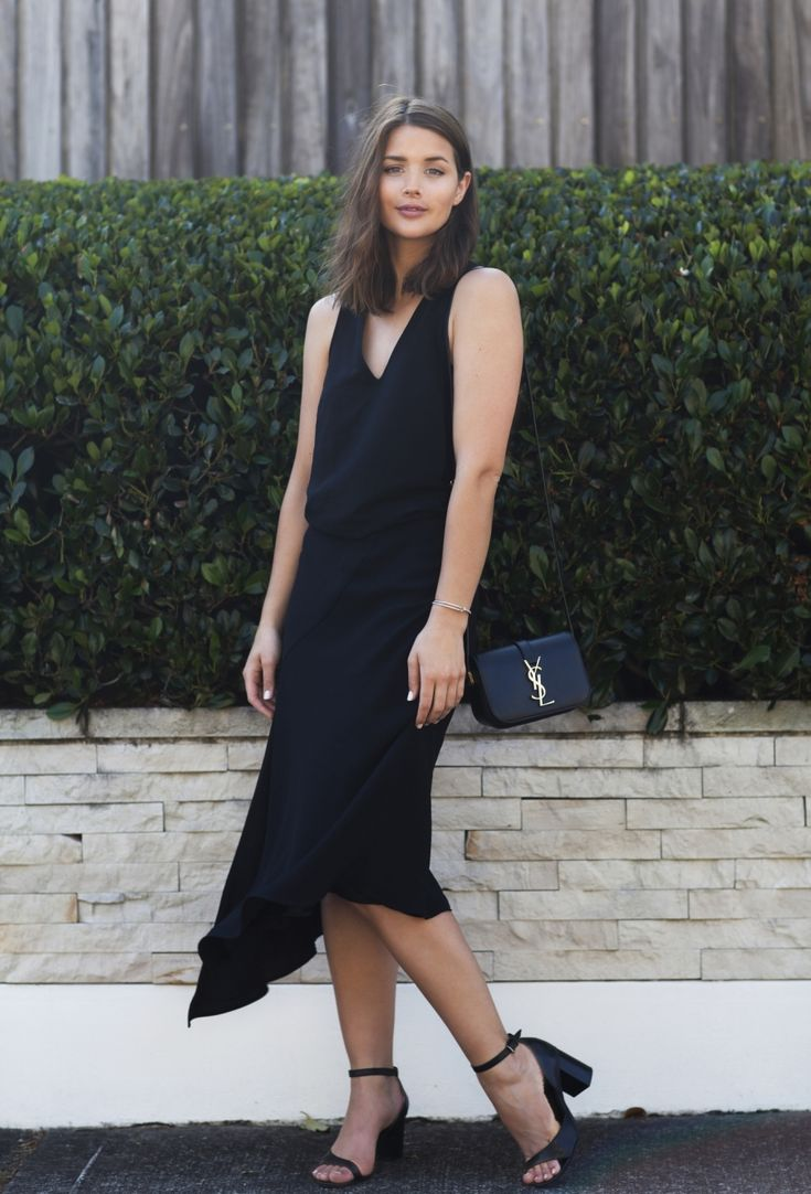 Work Outfit Ideas to Try This Winter - black sleeveless midi dress + YSL crossbody bag