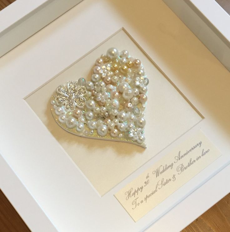 pearl anniversary gift button art 30th wedding anniversary present framed pearl artwork