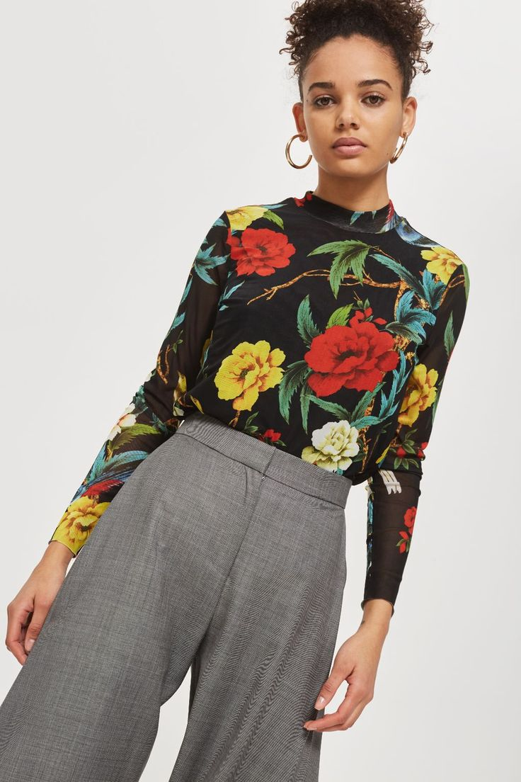 Floral Mesh Top by YAS - Topshop USA