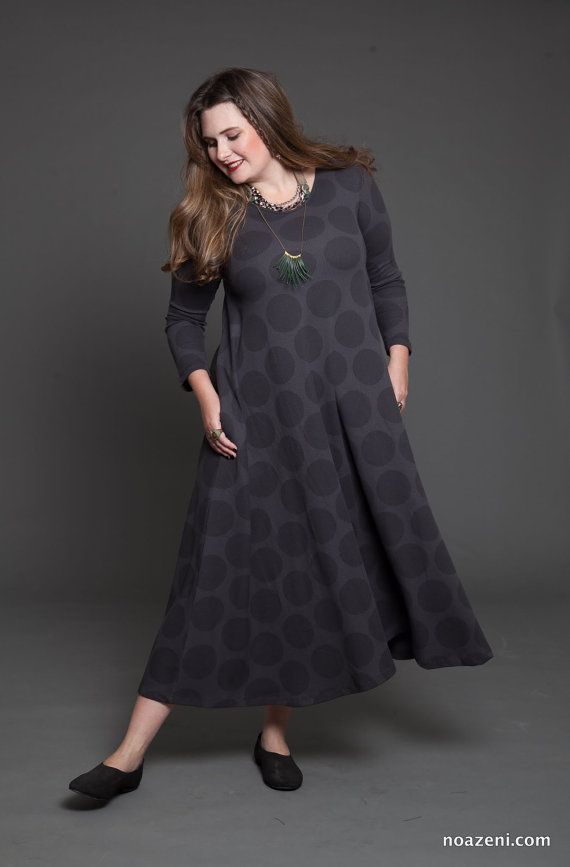 Plus size Polka dots maxi dress  loose fit dress  by TAPUmeyou