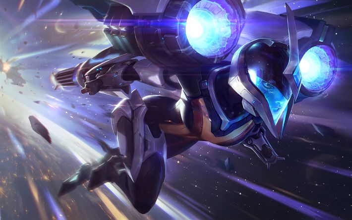 Download wallpapers Kai Sa, 4k, MOBA, art, cyber warrior, League of Legends