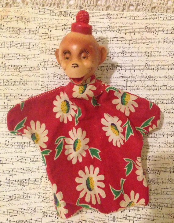 Creepy Monkey Hand Puppet Vintage Oddity Plastic by ThePokeyPoodle