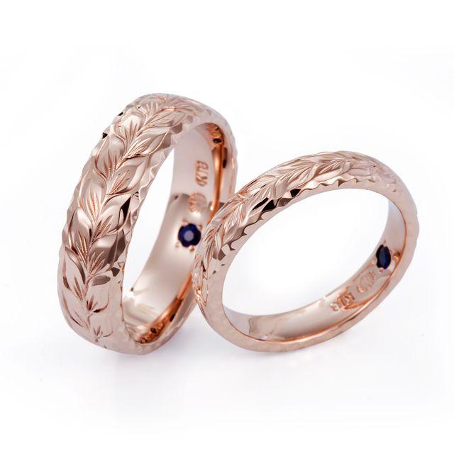 ハワイアンジュエリー 結婚指輪 マリッジリング ペアリング 海 リング ゴールド サファイア マイレ リーフ