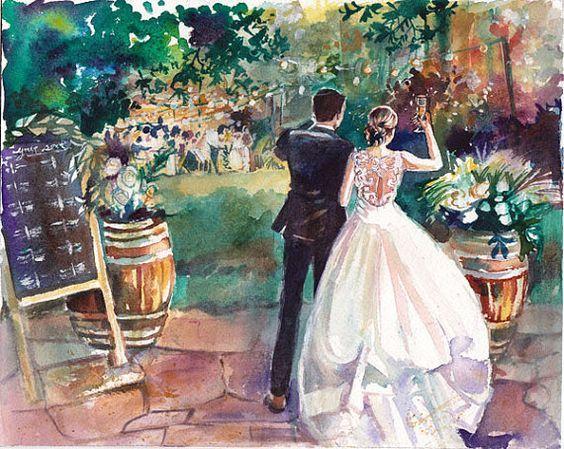 Картинки для свадебных работ, жених, невеста, акварель