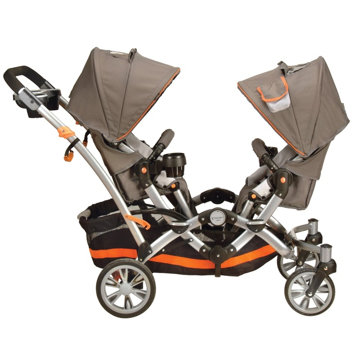 Tandem stroller. (We have this one and it's perfect for