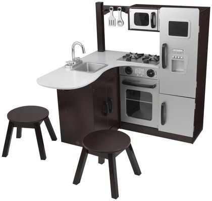 Can't decide which kitchen set we like best!!! Here's one of our top choices. KidKraft Modern Corner Kitchen w/Stools - Espresso