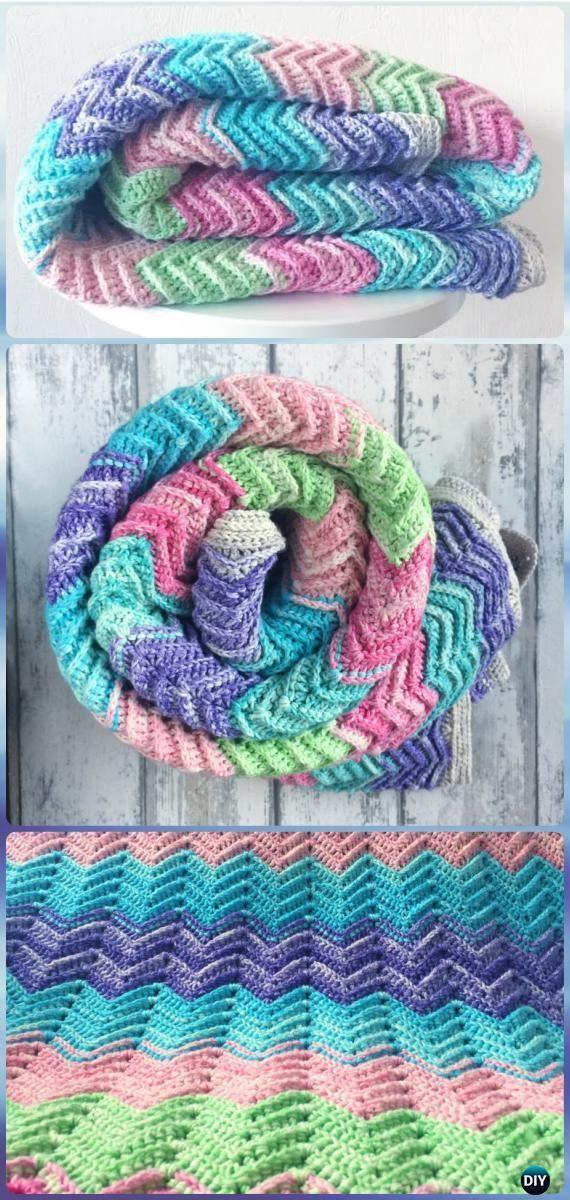 Crochet texturizados manta Chevron livre padrão - crochet arco-íris livre padrão