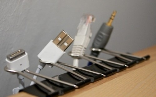 ProTip: use clips to hold cables on your desktop - Imgur