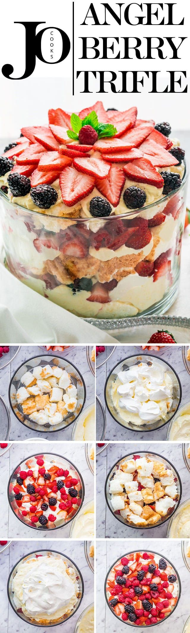 An Angel Berry Trifle that's perfect for Easter brunch made with fresh berries, angel food cake and an out of this world vanilla pudding and cream cheese custard. #trifle #easterbrunch via @jocooks
