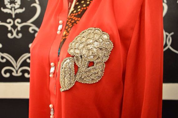 Designer Red Silk Kurti with Crystal Stone flower motif holiday Pakistani Indian medium large Kurti kurta shalwar kameez on Etsy, $130.00