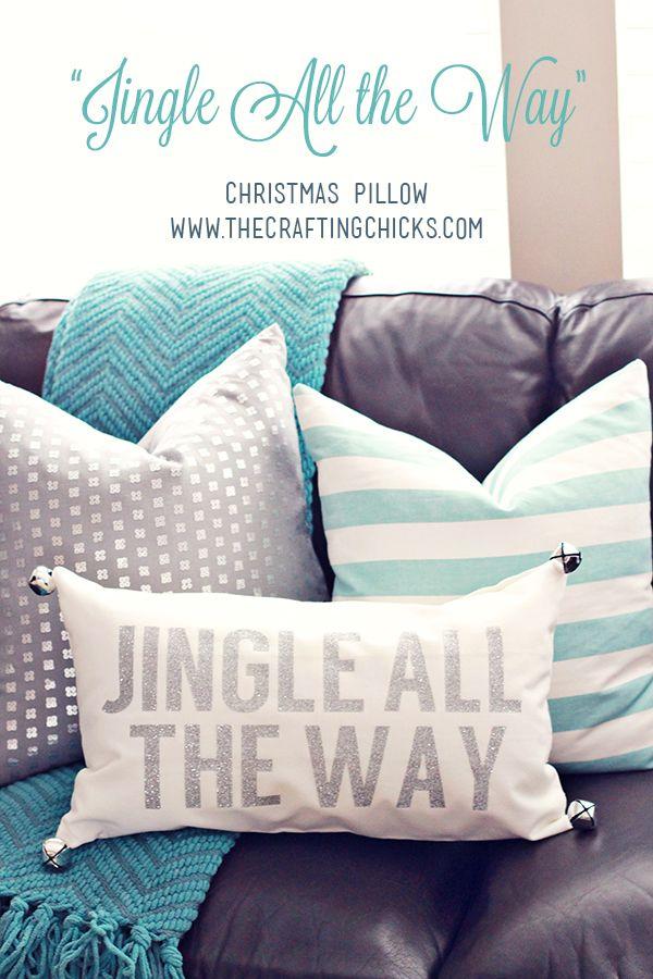 Christmas Pillow on www.thecraftingchicks.com | Jingle All The Way Pillow | DIY Christmas Pillow via @craftingchicks